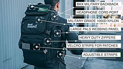 "Bear KompleX Military Grade 3 Day Tactical Rucksack, Multi-use Bug Out Bag Great for Hiking, Trekking, Fitness, Camping. Loads of Storage - 1000D Nylon Backpack, 24""T x 13""W x 10"" Deep for Men & Women"