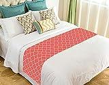 Custom Coral Quatrefoil Bed Runner Cotton Bedding Scarf Bedding Decor 20x95 inches