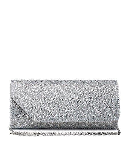 ME68031 Glitter Party Ladies Envelope Handbag Bag Clutch Diamante Women's Silver Evening gdqdRzwH