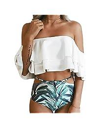 Derix Womens 2 Piece High Waist Bikini Ruffle Flounce Off Shoulder Swimsuit