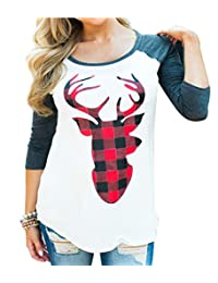 NANYUAYA Women Christmas Funny Plaid Sequin Reindeer Print Long Sleeve Raglan T-Shirt