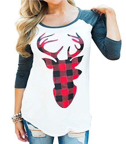 Women Christmas Funny Plaid Sequin Reindeer Print Long Sleeve Raglan Splicing T-Shirt Tees Size M (White) ()