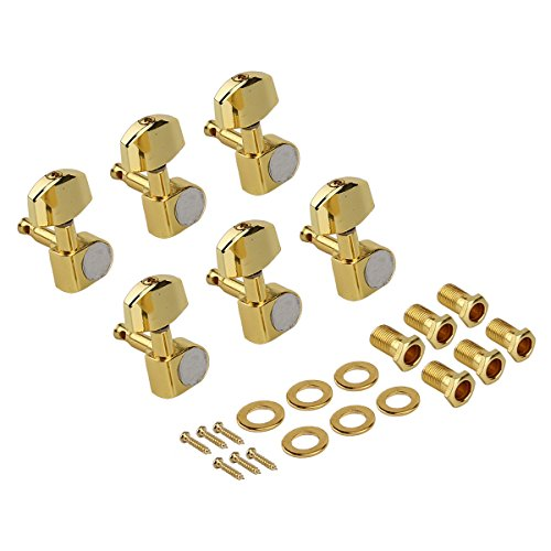 Kmise Electric Guitar Tuning Pegs Tuners Keys Machine Heads for Acoustic Parts Replacement 6 R Inline Gold Closed Gear from Kmise