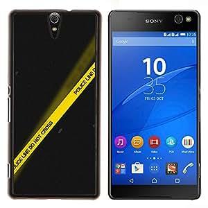Stuss Case / Funda Carcasa protectora - Policía Amarillo Negro Línea de la escena del crimen - Sony Xperia C5 Ultra