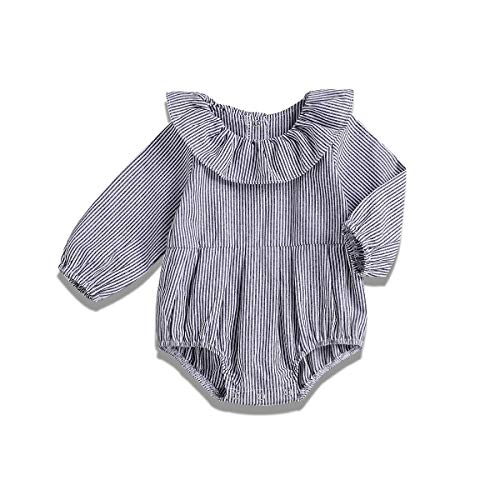 YOUNGER TREE Newborn Baby Girls Gray Striped Romper Toddler Long Sleeves One Piece Jumpsuit Ruffle Top Bodysuit (0-3 Months, Gray)