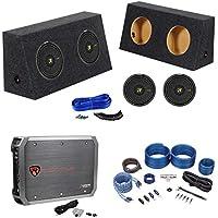 (2) Jeep Wrangler Kicker 12 1200w Subwoofers+Mono Amplifier+Sub Box+Wire Kit