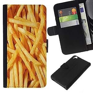 KLONGSHOP // Tirón de la caja Cartera de cuero con ranuras para tarjetas - Papas a la francesa de comida basura amarilla rápido - HTC Desire 820 //