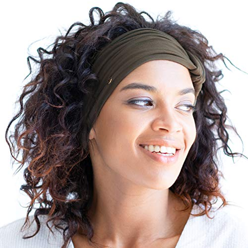 BLOM Original Multi Style Headband. Wear Wide Turban Thick Knotted. for Women Yoga Fashion Workout Running Athletic Travel. Comfort Stretch Versatility. Dark Olive (Best Way To Get Knots Out Of Hair)
