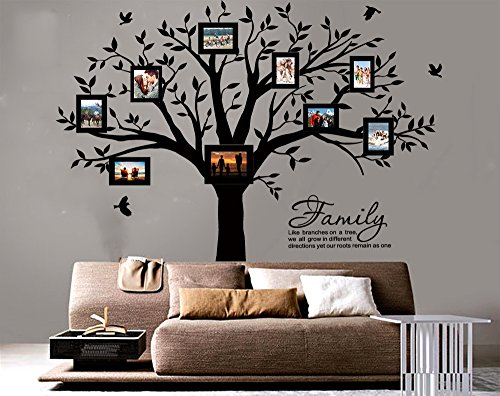 LUCKKYY Grant Family Tree Wall Decal with Family Like Branches on a Tree Quote Wall Decal Tree Wall Sticker (83'' Wide x 83'' high) (Black) by LUCKKYY (Image #1)