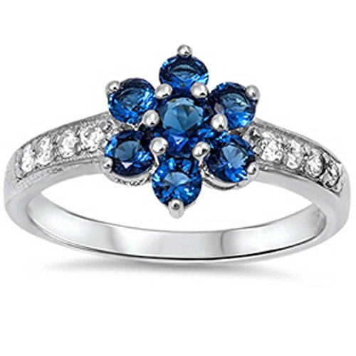 Blue Sapphire Flower (Simulated Blue Sapphire Flower & Cubic Zirconia .925 Sterling Silver Ring Sizes 7)