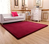 Ultra Soft 3cm Japanese Thicken Coral Velvet Carpet Children Crawling Mat Tatami Mat, Wine Red Flannel Living Room Bedroom Mat Area Rug, MAXYOYO Soft Tatami Carpet Pad, 79 by 98 Inch