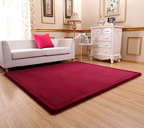 Ultra Soft 3cm Japanese Thicken Coral Velvet Carpet Children Crawling Mat Tatami Mat, Wine Red Flannel Living Room Bedroom Mat Area Rug, MAXYOYO Soft Tatami Carpet Pad, 79 by 98 Inch by MAXYOYO