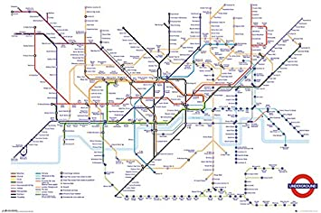 Transport For London Map.Transport For London Underground Map Poster 24x36 Psa034314