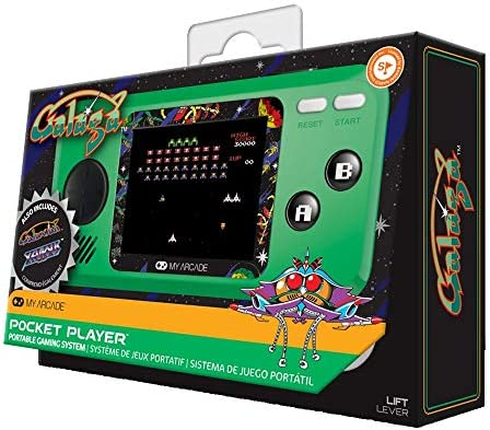 My Arcade Pocket Player Handheld Game Console 3 Built In Games Galaga Galaxian Xevious Collectible Full Color Display Speaker Volume Controls Headphone Jack Battery Or Micro Usb Powered Toys Games