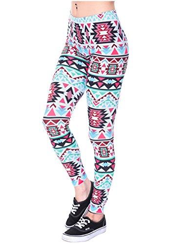 Ayliss Women Leggings Digital Print Yoga Skinny Pants High Waist Gym Elastic Tights,Rose Pink Geometric,L-XL