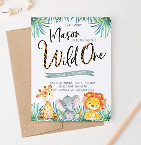 Safari Birthday Invitations for Kids, Jungle Birthday Invitations for Boys, Your choice of Quantity, Age, Info and Envelope Color ()