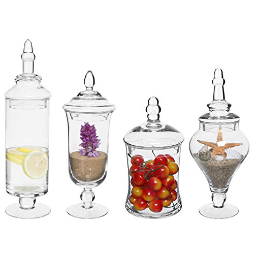 MyGift Set of 4 Clear Glass Apothecary Jars/Wedding Candy Serving Canisters/Decorative Small Storage Bottles -