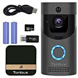 TONBUX Smart Video Doorbell Wireless Home WiFi Security Camera with Indoor Chime, 16GB