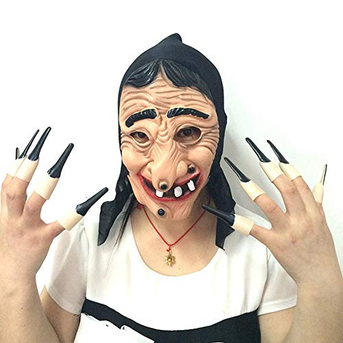 MaiYi Evil Witch Latex Masks Head Cover & Fingernail Set Halloween Cosplay Party Costume Fancy Dress Props