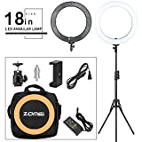 ZOMEI 18-inch LED Dimmable Ring Light with Stand One-piece Warm Color Filter Cell Phone Clip for Beauty Facial Make Up Live Stream Camera Youtube Video