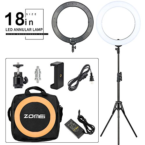 ZOMEI 18-inch LED Dimmable Ring Light with Stand One-piece Warm Color Filter Cell Phone Clip for Beauty Facial Make Up Live Stream Camera Youtube Video by BAIPAK