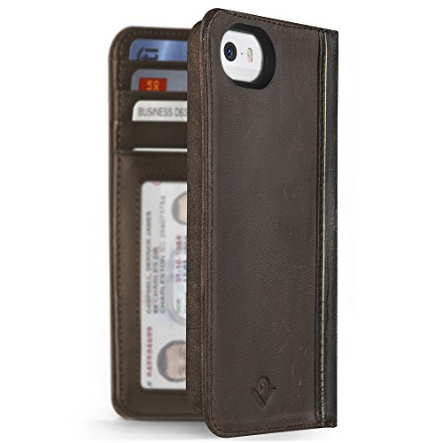 Twelve South BookBook for iPhone SE/5s, vintage brown | Vintage leather iPhone book case and wallet