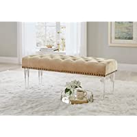 Simple Living Leona Velvet Button Tufted Bench with Acrylic Legs Gold