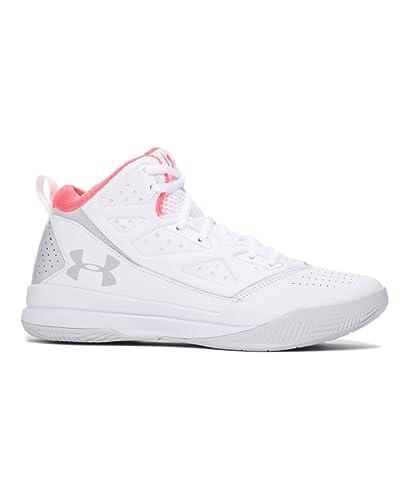 promo code 4cafa b231f Amazon.com   Under Armour Women s UA Jet Mid White Glacier Gray Glacier  Gray Sneaker 8 B (M)   Basketball