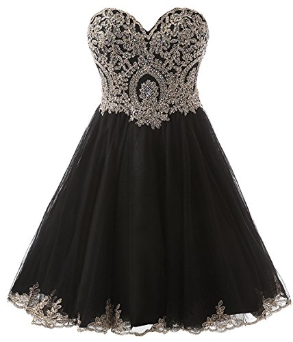 Clearbridal Short Prom Dress Homecoming Ball Gown Black for Women and Juniors ()