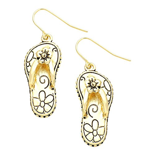 (Liavy's Daisy Filigree Flip-Flop Sandals Fashionable Metal Earrings - Fish Hook - Gold Plated)