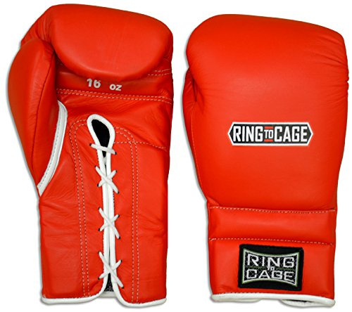 Japanese Style Training Boxing Gloves 2.0 - Hook&Loop or Lace-Up - 12oz, 14oz, 16oz, 18oz - 9 Colors to Choose (Red, 16oz Lace-up) ()