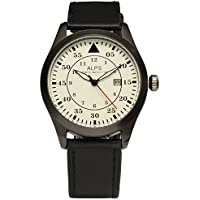 ALPS Mens Watch Casual Military Chronograph Calendar Watch with Black Leather Band