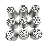 JJMG Russian Tulip Tips Stainless Steel Icing Piping Nozzles Pastry Decorating Tips Cake Cupcake Decorator icing dispenser (9 Piece lot)