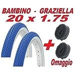51j2YU6w99L. SS150 CicloSportMarket 2 x Copertone 20 X 1.75 Blu/Bianco Bicicletta GRAZIELLA/Bambino + 2 x Camera d'Aria Omaggio