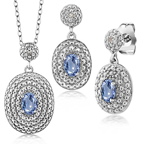 1.67 Ct Oval Blue Sapphire and Diamond Rhodium Plated Pendant Earrings (Oval Sapphire Pendant Set)