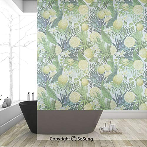 - 3D Decorative Privacy Window Films,Tropical Plants with Large Evergreen Leaf Lemon Botany Palm Jungle Graphic,No-Glue Self Static Cling Glass Film for Home Bedroom Bathroom Kitchen Office 36x48 Inch