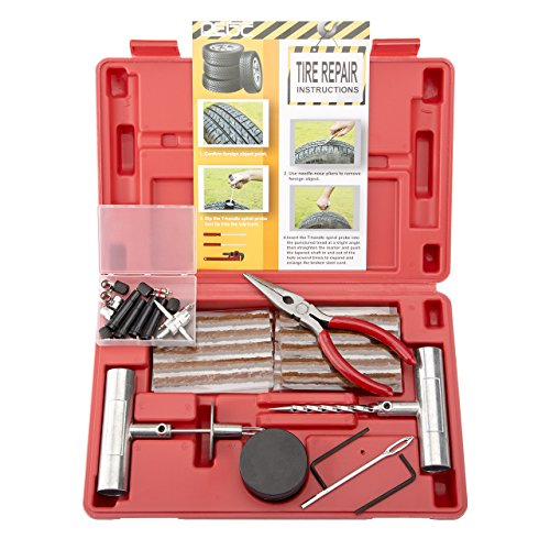 Trailer Tires Atv (DEDC 65pcs Heavy Duty Flat Tire Repair Kit for ATV Tires Truck Tires RV Tires Jeep Tractor Trailer Tires Motorcycles Lawn Mowers Tires in Red Case)