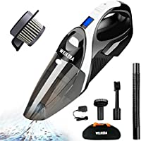 Handheld Vacuum, WELIKERA 12V 100W Hand-held Cordless Vacuum Cleaner, Portable Pet Hair Vacuum, Cordless Rechargeable Hand Vacuum with Stainless Steel Filter, with A Carrying Bag, Black
