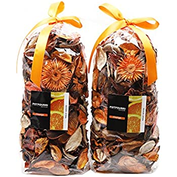 Qingbei Rina Gifts Orange Fresh Potpourri Bag Home Fragrance Perfume Sachet of Petal,Bowl and Vase Decorative Filler.2 Bags.Total Volume of 83 Oz (Orange)