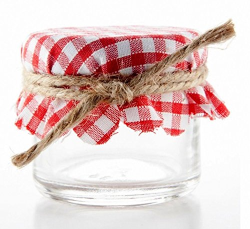 Nakpunar 12 pcs Red and White Gingham Fabric Jar Covers with Hemp Twine