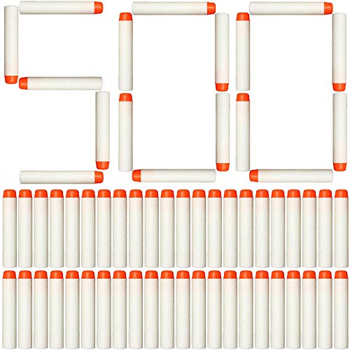 AMOSTING Refill Darts 500Pcs for Nerf N-Strike Elite Glow at Dark Bullets - White