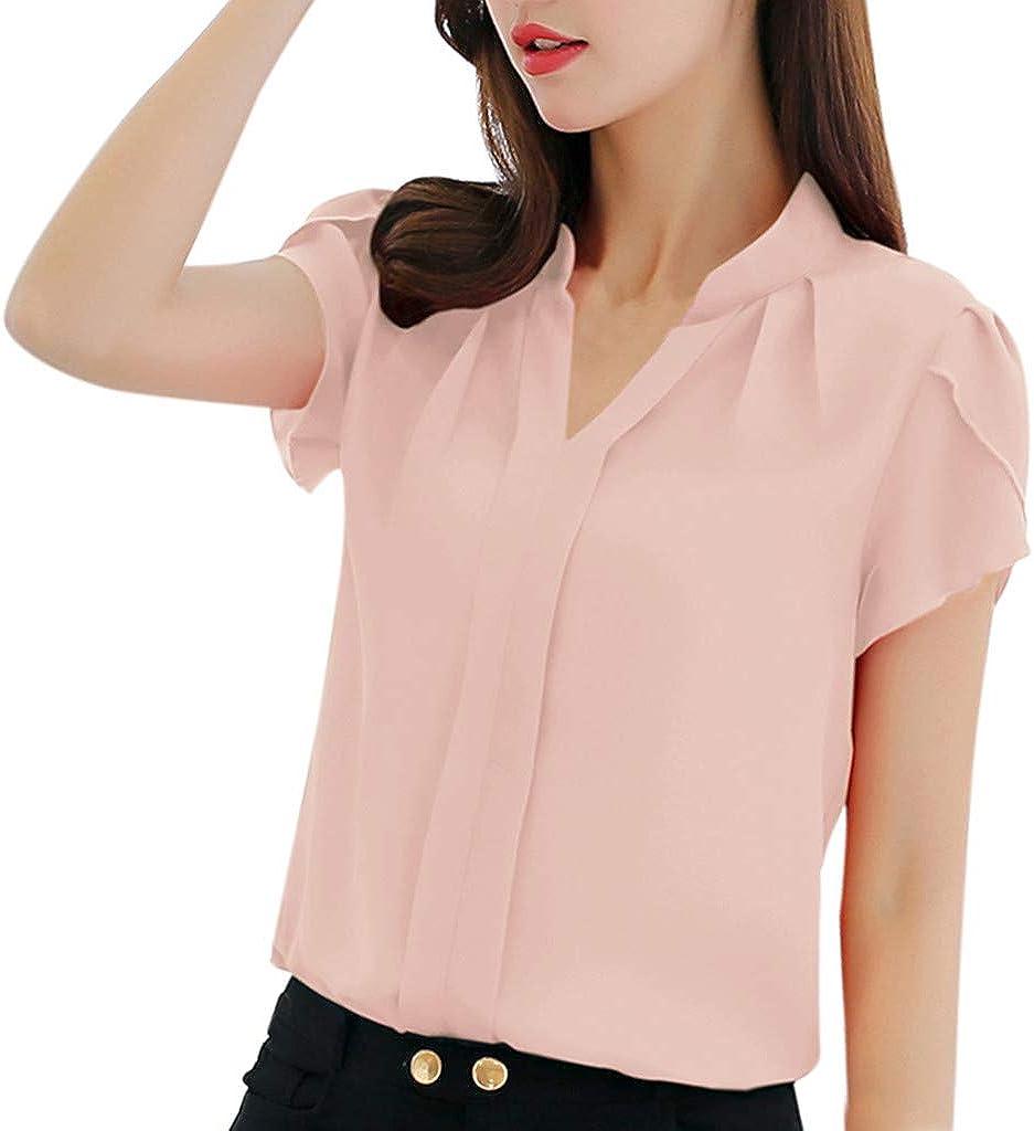 RYTEJFES - Blusa de muselina de seda de manga corta para mujer rosa XXL: Amazon.es: Ropa y accesorios