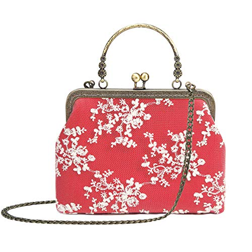 Red Vintage Clutch - Rejolly Women Vintage Kiss Lock Evening Purse Top Handle Handbag Lace Crossbody Shoulder Clutch Bag with Chain Strap Red
