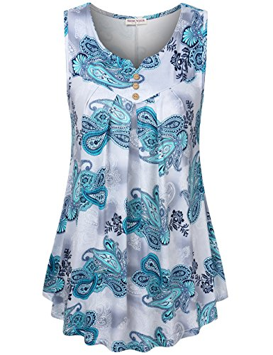 MOOSUNGEEK Print Tunic Sleeveless Tops, Swing Tunic Summer Flare Tank Top Blue Flower (Blue Flower Curved)