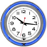 Lavish Home Retro Neon Wall Clock - Battery Operated Wall Clock Vintage Bar Garage Kitchen Game Room - 14 Inch Round Analog (Blue and White)