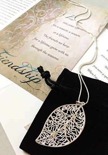 Smiling Wisdom - Silver Leaf Necklace Reason Season Lifetime Friend Gift Set - Friendship Greeting Card - Leaf Pendant Sentiment - For Good True Best Friend - Pendant 2.25x1.25 - .925 Silver Plated by Smiling Wisdom