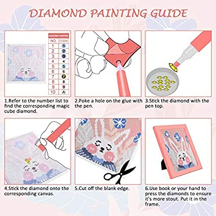 Diamond Painting Round Full Drill Diamond Embroidery Paintings Pictures DIY Diamond Art for Adults and Kids with Wooden Frame 15 x 15 cm L/émouchet DIY 5D Diamond Painting by Number Kits