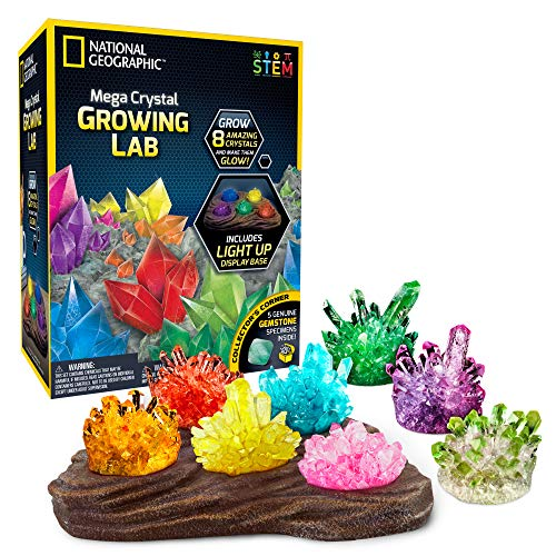 (NATIONAL GEOGRAPHIC Mega Crystal Growing Lab - 8 Vibrant Colored Crystals to grow with Light-up Display Stand and Guidebook - Includes 5 real Gemstone Specimens including Amethyst and)