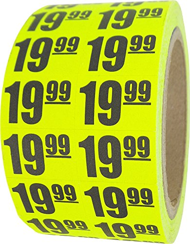 $19.99 In-Store Use Day-Glo Yellow Display Labels 3/4
