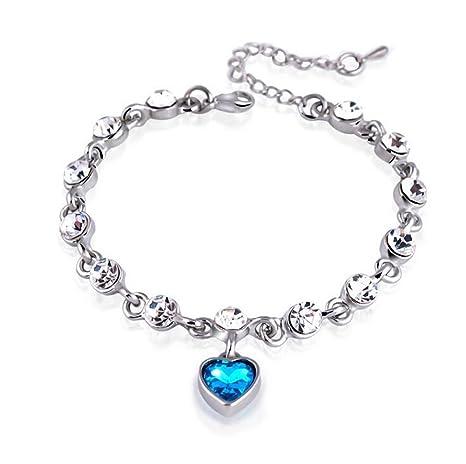 714a8692035f Hosaire Pulsera de Cristal Romántico Corazón Amor Diámetro 60mm Pulseras de  Botón Nuevo Estilo para Mujeres